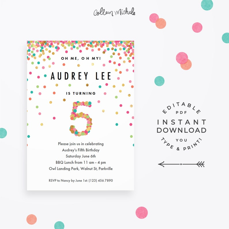 Girls 5th Birthday Invitation Instant Download Printable PDF