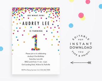 Rainbow 1st Birthday Invitation Editable PDF, instant download printable. Cute rainbow confetti invite for boy or girl first birthday party!