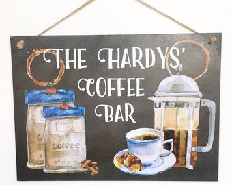 Personalised Coffee Sign, Coffee Lover Name Plaque, Custom Kitchen Coffee Sign, Coffee Addict Gift, Coffee Bar Wooden Sign, Coffee Decor