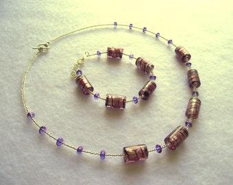 Purple and silver glass bead bracelet (15.028)