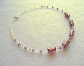 Purple and silver glass bead necklace (15.027)