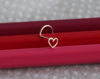 Heart Nose Stud. Nose Stud. Heart Nose Ring. Sterling Silver Nose Stud. 24 to 18 Gauge. L Shaped. Screw Stud or Straight Earring. Dainty.