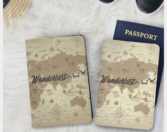 Wanderlust passport holder,faux leather passport cover,passport wallet,vintage passport cover,gift for him gifts for her