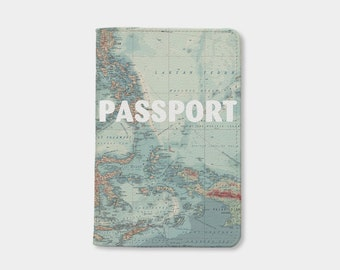 Travel Passport holder,personalized passport cover,map leather passport wallet,travel accessories,birthday gift,daughter gift,gift for her