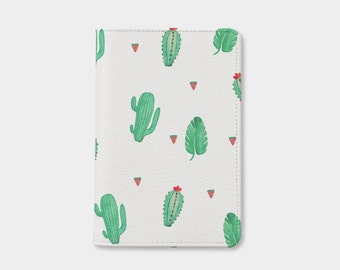 Cute Cactus pattern passport holder,leather passport cover,birthday gift,personalized passport cover,cute passport,gift for her