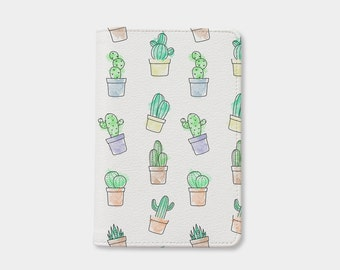 Cute Cactus passport holder,cute passport holder,leather passport cover,personalized passport cover,gift for her,birthday gift