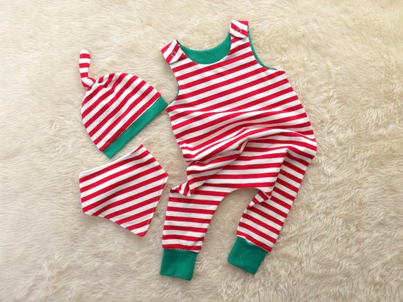 5d0d928f8fd5 Elf Stripe Harem Romper Red and White Stripe Christmas