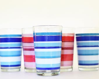 Vintage Set of 5 - Drinking Glasses - Barware - Water tumblers - Gradient red and gradient Blue stripe