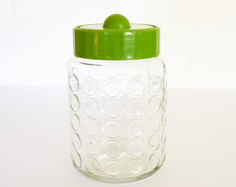 Vintage Storage Canister - Glass Jar with Green Plastic Lid - Retro Pantry - 1960's Era