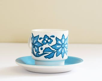 Retro Staffordshire Tea or Coffee Cup with Saucer - Vintage Cups - Made In England- Five Sets Available - 1970's Era