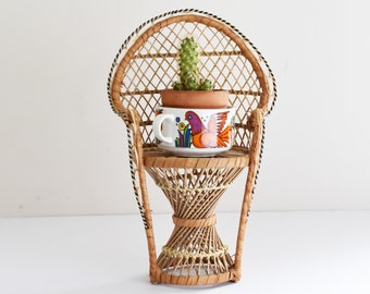 Vintage Peacock chair Plant stand - Boho Style - Wicker Planter - 1970's Era