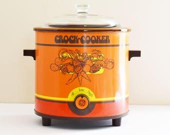 Retro Orange General Electric Crock Pot -Crock Cooker -  Electric Slow Cooker  - 1970's