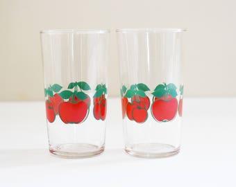 Retro Drinking Glasses - Barware - Spirit / liqueur - Water Juice tumblers - Red Cherries - Tall Hi Ball Glasses - Set of 2 - 1960's - 70's