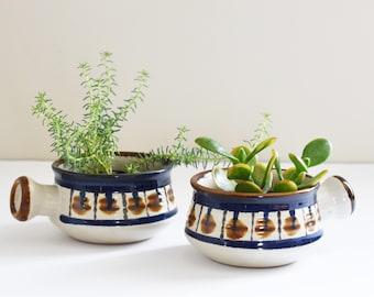 Retro Soup bowl - Ramekin - Upcyled Plant Holders - Bohemian Home Decor - Made in Korea- One Left - 70's Stoneware - 1970's Era