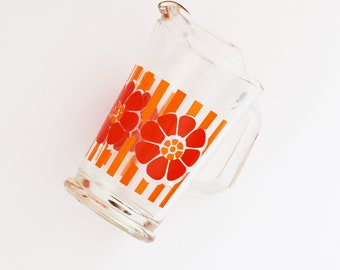 Retro Floral - Glass Pitcher - Water or Juice Jug -  Flower and Stripe Motif - Glass Carafe  - 1970's Era