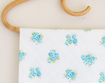 Small Vintage Fabric Remnant - Blue Floral with Lattice Pattern - Cotton or Cotton Poly  Blend - Vintage Fabric - 1960's Era