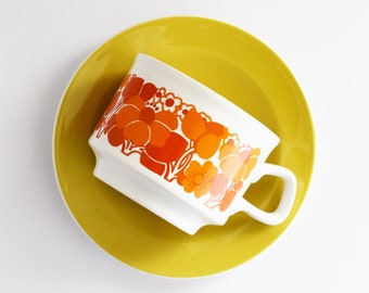 Retro Staffordshire Tea or Coffee Cup with Saucer  - Vintage Cups - Orange Vintage Florals - Made In England - 1970's Era