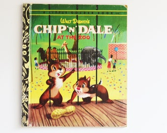 Vintage Children's Book - Little Golden Book - Chip 'N' Dale - At the Zoo -  1974 Edition
