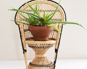 Vintage Mini Peacock Chair Plant stand -Larger Sized Mini Chair -  Boho Style - Wicker Planter - 1970's Era