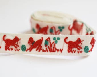 Vintage Embroidered  Cotton Trim - Ribbon - Cute Cat and Dog Playing Design - Red, White and Green -  1950's - 60's Era