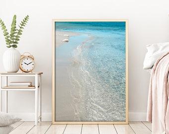 Beach Photography Crystal Clear Sea Print Beach Print Digital Print Summer Decor Light Blue decor Sea lovers gift
