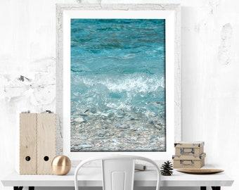 Blue Sea Print Photography Wave Print Sea Photography Digital Print Summer Decor Blue decor Sea lovers gift