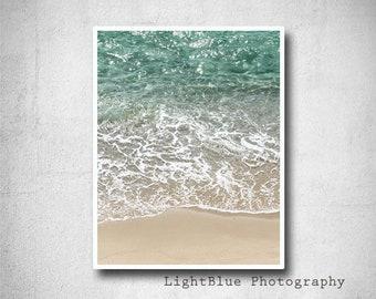 Green Sea Print Photography Beach Print Sea Sand Photography Digital Print Beach Decor Green Sea Summer decor Sea lovers gift