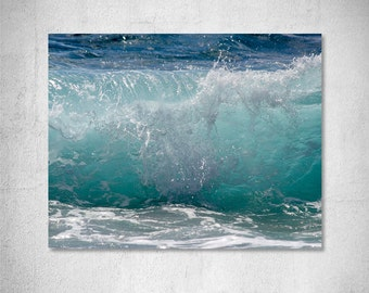 Wave photography Seascape photography Ocean photography blue wave brake picture summer decor nautical decor Cottage Decor photo print