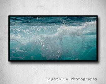 Large art Ocean photography Wave photography Seascape photography Blue decor Wave brake print Cottage decor Panoramic print Nautical decor