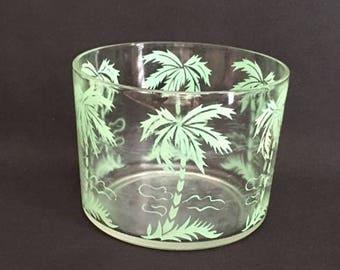 Palm tree glass bowl turquoise teal seafoam green retro vintage MCM beach life island