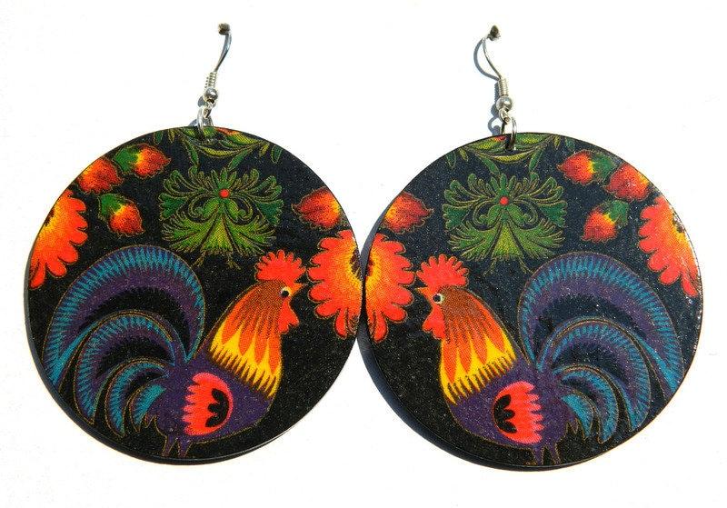 Ethnic Earrings Colorful Earrings Decoupage Earrings Folk Patterns Earrings Handmade Earrings Unique Earrings Dangle Earrings Women Gift
