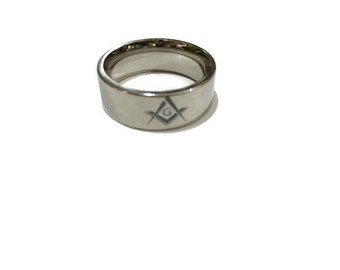 Vintage Freemason Ring, Black Stainless Masonic Ring, Freemason Masonic Square and Compass Ring