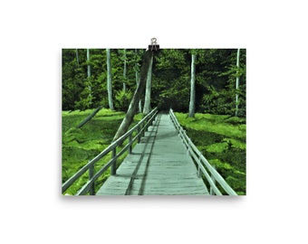 Bridge Through the Woods Art Print, Nature Painting, A Walk in the Woods, Art by Anne Hockenberry