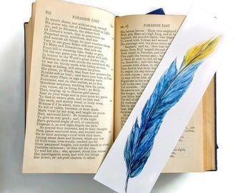 Feather Bookmark, Blue and Yellow Feather Watercolor Art, Feather Print, Book Marker, Bird Bookmark Teacher Gift, book club MVP