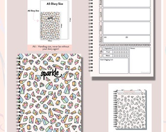 Slimming World,Any Diet,  Food Diary, Planner,Weight Watchers, Calorie,  Tracker, Journal,Notebook, Weight loss, A6 Sparkles