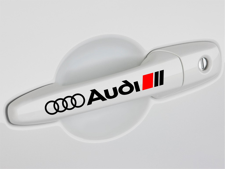 AUDI QUATTRO door handles Vinyl Decal sticker Sport Racing emblem RED