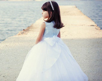 Princess White Tulle Dress Blue Dress with Bow Flower Girl Dress Junior Bridesmaid Wedding Party Dress