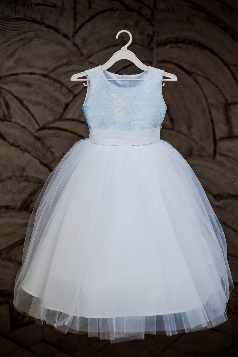4e7573beaa71 White Princess Tulle Dress Light Blue Dress Flower Girl Dress | Etsy
