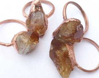 Raw Citrine Ring | Citrine Crystal Ring | Citrine Ring | Citrine Gemstone Ring