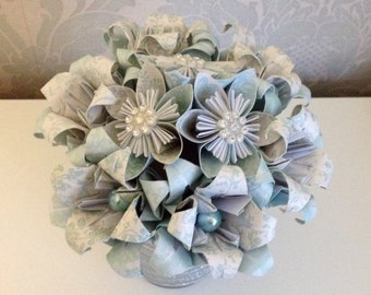 Origami bouquet with pearl beads and embellishments