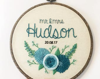 Custom Wedding Embroidery Hoop, Personalised Gift Idea, Unique Hand Embroidered Wall Hanging, Floral Wedding Engagement Idea.