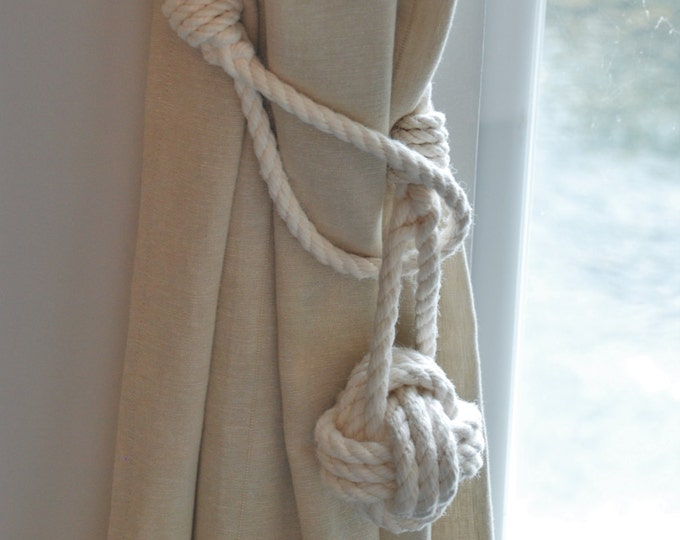 White Cotton Rope Monkey Fist Knot Curtain Tie- Backs / Rope Drape Hold backs/ Shabby chic window treatment / Curtain tiebacks/ nautical tie