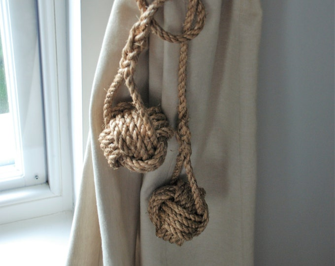 Double Ball Monkey Fist Knot Manila Rope Curtain Tiebacks Rustic Ties Shabby chic hold-backs window treatment nautical style hanging rope