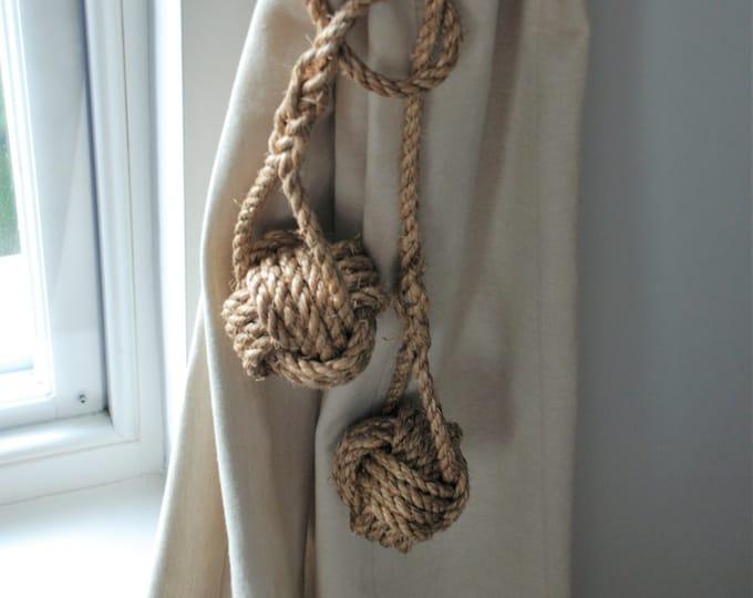 Double Ball Monkey Fist Knot Manila Rope Curtain Tiebacks Rustic Ties Shabby chic hold-backs window treatment nautical style hanging rope