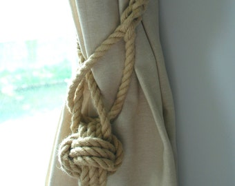 Monkey Fist Knot Hemp Rope Curtain Tieback/ Rope Ties/Shabby chic ties/ Tie-backs/ Holdbacks/Shabby Chic window/ rustic ties /nautical decor