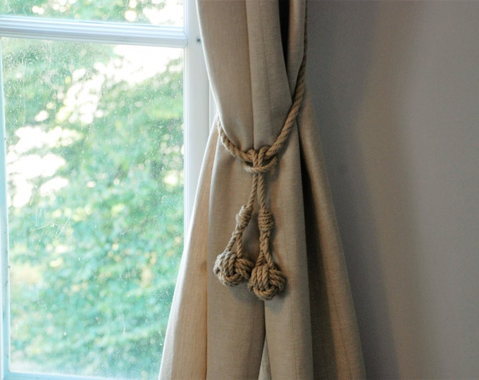Monkey Fist Knot Tassel Hemp Rope Curtain Tie Backs / Nautical Ties/ Shabby Chic Window treatment/ rustic hold backs/ rope tie backs