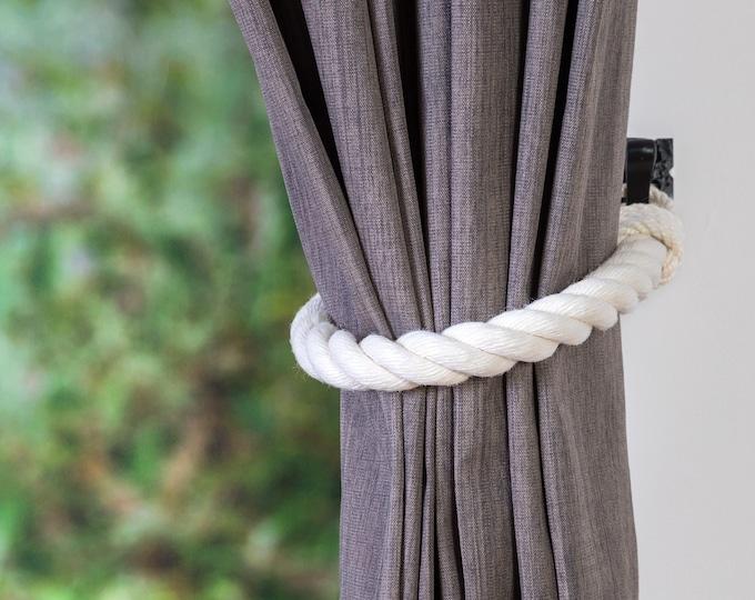 Chunky Ivory White Curtain Tiebacks -  Thick Tie backs, Curtain Tie Back, Curtain Tieback, Curtain Holdback, Curtain Hold Back, Curtain Tie