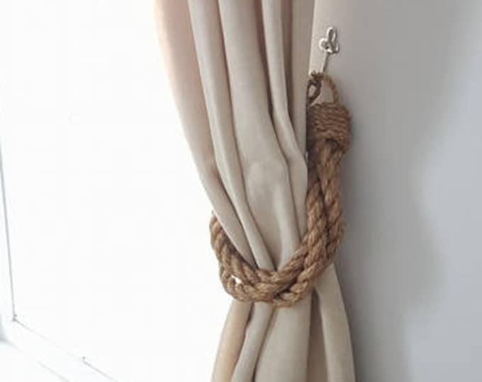 Thick Twist 3 Manila Rope Curtain Tiebacks, Nautical Tieback, Curtain Holdback, Rustic Tiebacks, Holdbacks, Master Bedroom Ideas