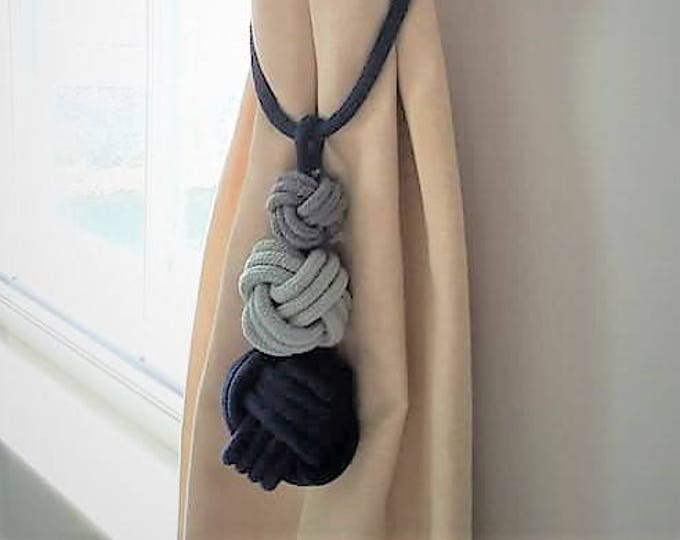 Navy cotton cord Tripple knot tassel curtain tie-backs grey blue bohemian decor hold-backs multi color boho nautical home decor