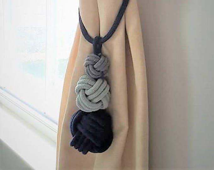 Navy Blue Triple Knot Monkey Fist Tie Back - Nautical Decor, Nautical Tiebacks, Nursery Decor, Curtain Tie Back, Curtain Tieback, Tieback